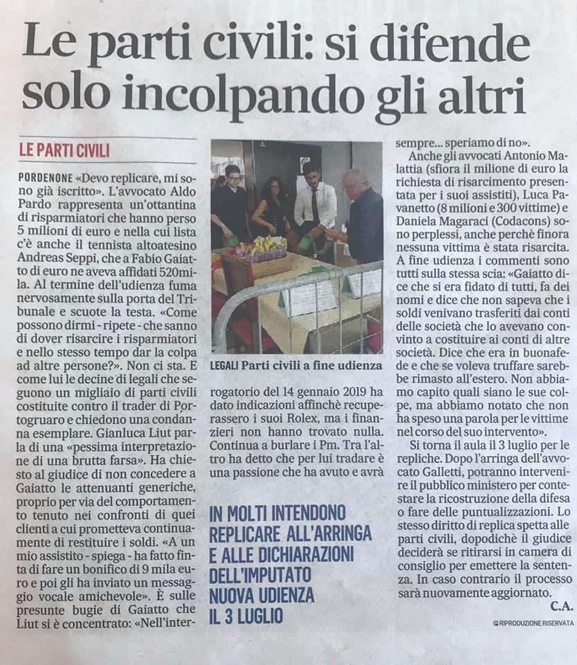 Il Gazzettino, Ed. Pordenone, 20.06.2019, p. III